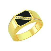 Pecsétgyűrű fekete díszítéssel, keresztben kövekkel