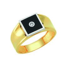Pecsétgyűrű ezüst-fekete díszítéssel, közepén kővel