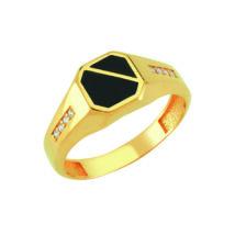 Pecsétgyűrű fekete díszítéssel, oldalán kövekkel