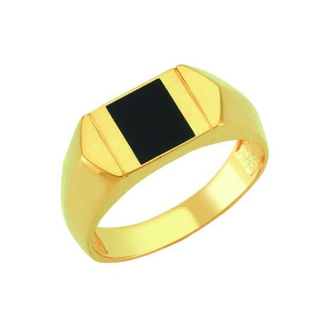 Pecsétgyűrű négyzet alakú fekete díszítéssel