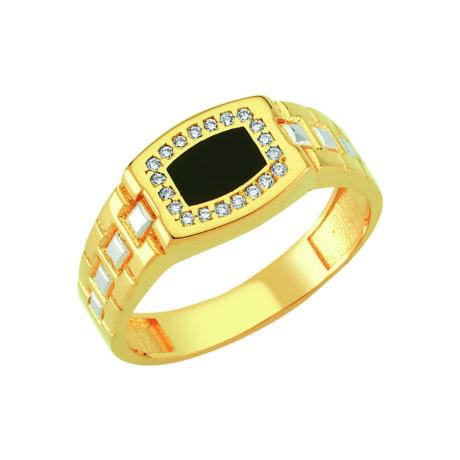 Pecsétgyűrű fekete-oldalán ezüst díszítéssel, kövekkel