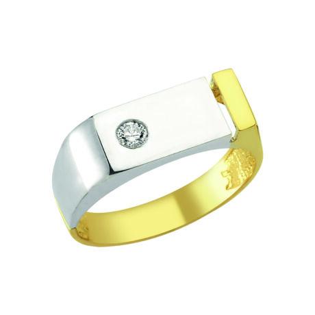 Pecsétgyűrű kétszínű kialakítással és kővel