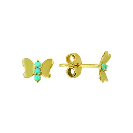 Fülbevaló pillangó mintával türkizkék kövekkel