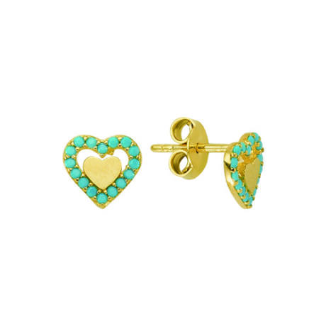 Fülbevaló szív mintával türkizkék kövekkel