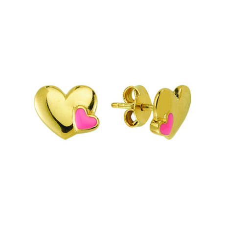 Fülbevaló szív mintával rózsaszín díszítéssel