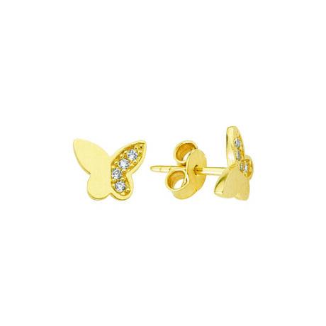 Fülbevaló pillangó mintával kövekkel díszítve